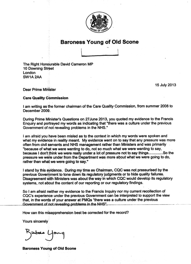 Baroness Young letter
