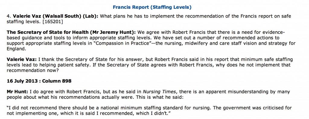 Francis safe staffing levels