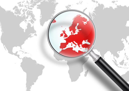 Weltkarte, Lupe, Europa, Krise, rot, Eurokrise, Suchen, Lösunge